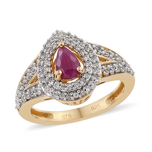 Ruby Zircon Halo Ring 925 Sterling Silver Vermeil Yellow Gold Jewelry for Women Size 9 Ct 0.9