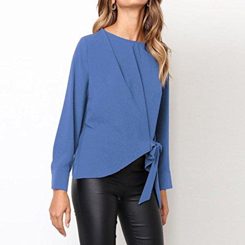 bleu dcontract pour N ud Vrac Tops Manches Longues Femmes OL Chemisier Shirt en TAOtTAO Cravate wYd6qx8Y