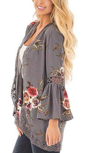 Primavera a Cardigan e Kimono Basic Grigio Simple Fashion Maniche Campana Moda Cucitura Top Tunica Floreali Shawl Pizzo Casual Autunno Donne ZwX5W4WqE