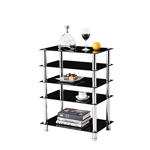 Media Stand,Audio/Video/AV Component Rack Tower Cabinet,Game Console Shelving Record Player Shelves Table with Glass Storage Shelf for Entertainment Center TV/XBOX/PS4/Stereo Home Theater (5 Tier)