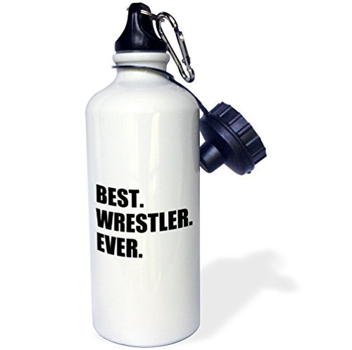 Sports Water Bottle Gift, Best Wrestler Ever Fun Wrestling Sport Gift Black And White White Stainless Steel Water Bottle for Women Men 21oz by Moson