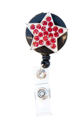 Shimmering Stars Snap (Shimmering Rhinestone Medical Field ID Badge Pull Reels Retractable ID Badge Holders (Red Star))