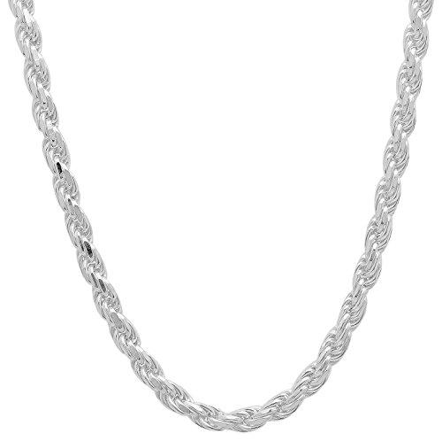 3.5 Mm Diamond (3.5mm 925 Sterling Silver Nickel-Free Diamond-Cut Rope Link Italian Chain, 22