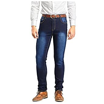 Robelli Men/'s Blue Stonewash Deluxe Cotton Blend Stretchy Skinny Fit Jeans W36