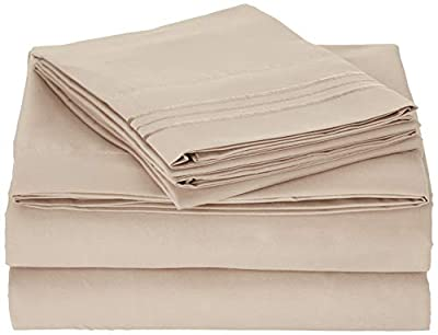 Premium Sheets Set Hotel Luxury Bed Set, Extra Deep Pocket Special Super Fit Fitted Sheet, Flat Sheet & 2 Pillowcases, Best Quality Microfiber Linen Soft & Durable Design + Better Sleep Guide