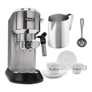 DeLonghi EC685M Dedica Deluxe Pump Espresso Machine, Silver Includes Frothing Pitcher, Coffee Spoon and 2 Espresso Cups Bundle