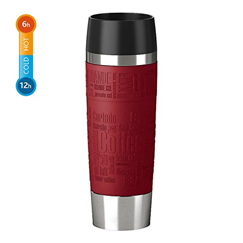 EMSA Germany: Travel Mug Grande - Premium High Performance German Engineered Thermos Vacuum Flask Tumbler, 17oz, Red