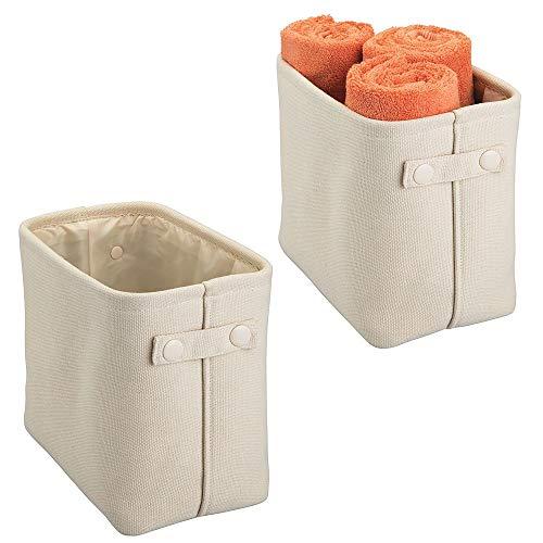 mDesign Soft Cotton Fabric Closet Storage Organizer Bin Basket Storage Organizer for Bathroom - Coated Interior, Attached Handles - Use on Vanity, Cabinet, Shelf, Countertop - Tall, 2 Pack - Cream