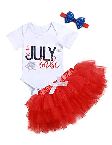 My 1st 4th of July Newborn Baby Girls Clothes Rompers American Flag Stars Tutu Skirts Dresses Outfit Headband Clothes Sets