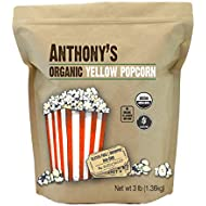 Anthony's Organic Yellow Popcorn Kernels, 3lbs, UnPopped, Gluten Free, Non GMO