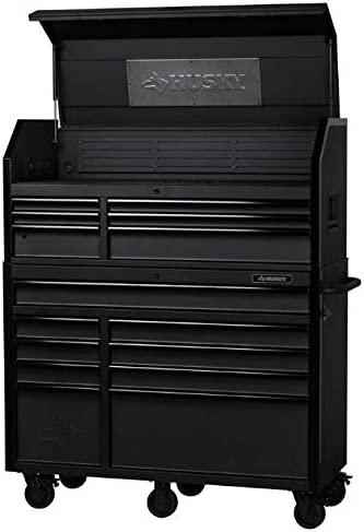 Husky Tool Cart >> Husky 52 In W 20 In D 15 Drawer Tool Chest And Cabinet Textured Black