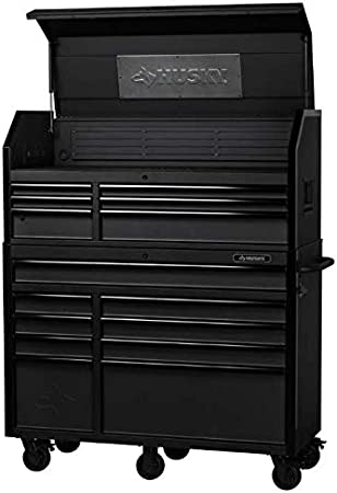 Amazon Com Husky 52 In W 20 In D 15 Drawer Tool Chest And Cabinet Textured Black Home Improvement