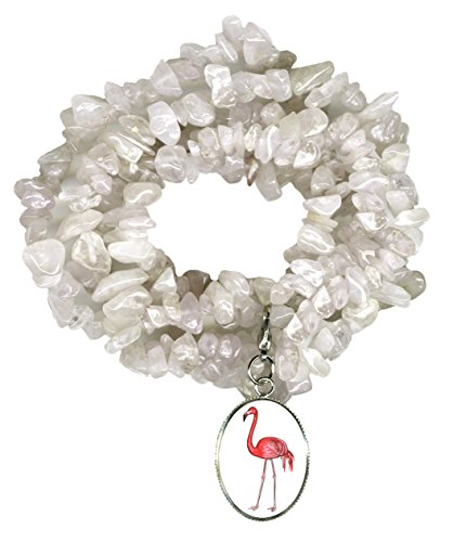 Gw1 Costumes (Pink Flamingo Charm Clip Clear Quartz Gem Wrap Bracelet or Necklace)