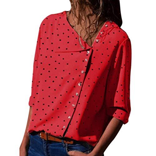 (NCCIYAZ Womens Tops Shirt Loose Polka Dot Side Buttons Shirt Long Sleeve Loose Ladies Blouse(M(6),Red))