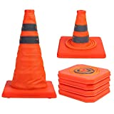 2 Pack 15.5 inch Collapsible Traffic Cones Multi Purpose Pop up Reflective Safety Cone (2), Orange