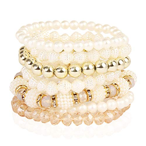 RIAH FASHION Bridal Acrylic Faux Pearl Stackable Stretch Bracelets - Layering Bead Multi Strand Bride Wedding Statement Bangles (Pearl Bead Mix - ()