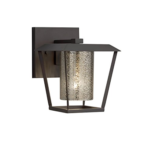 (Fusion - Patina Small 1-Light Outdoor Wall Sconce - Cylinder with Flat Rim Artisan Glass Shade in Mercury - Matte Black Finish - LED)