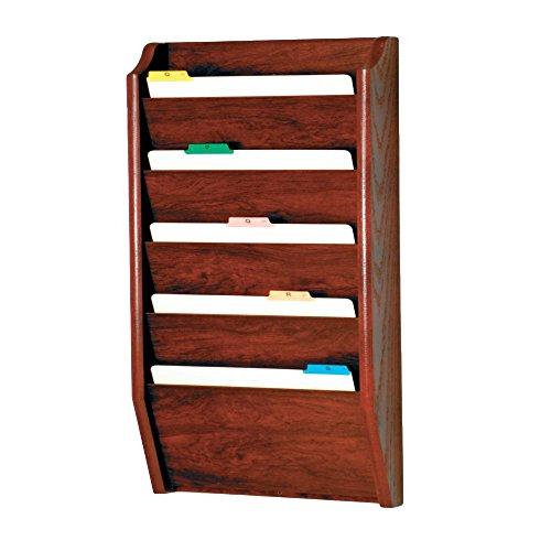 Wooden Mallet 5-Pocket File Holder, Legal Size, Mahogany