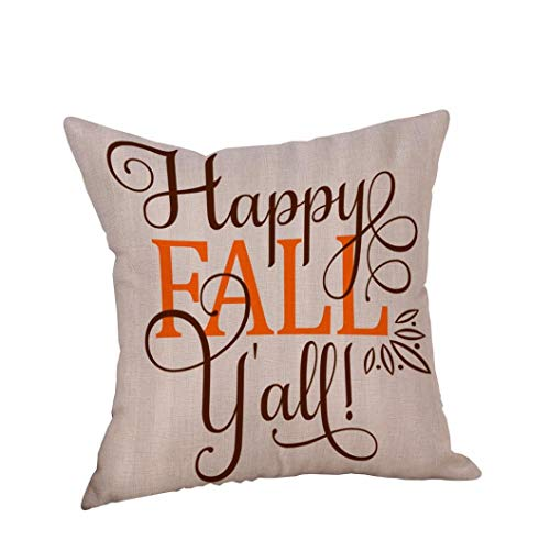 GREFER New Pillowcases Pillow Cases Linen Sofa Cushion Cover Home Decor Happy Halloween Thanksgiving Christmas (A)