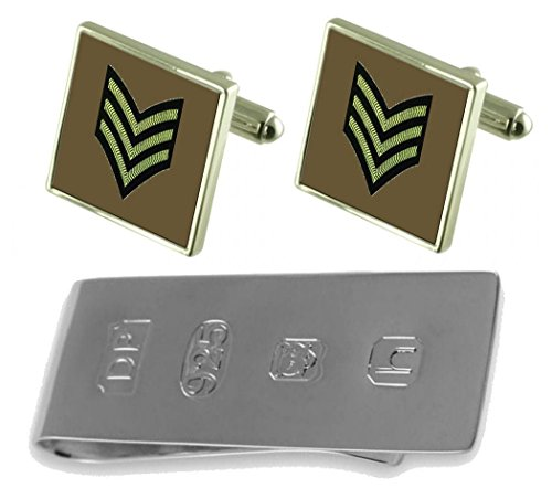 Clip Bond amp; Sergeant Money Rank Army Insignia James Cufflinks xY7ggv