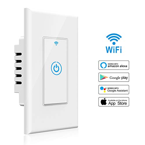 Smart Light Switch - Gosund Smart Wifi Light Wall Switch 15A Touch Timing Function Remote Control From Anywhere, Works with Alexa, Google Assistant And IFTTT, No Hub Required (1 pack) by Gosund