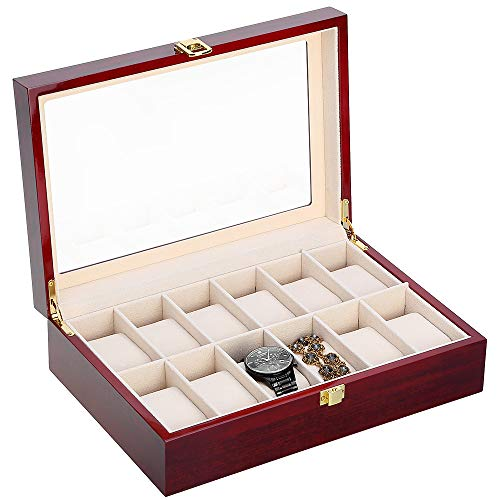 Kranich 12 Slot Watch Box Jewelry Display Case Wooden Watch Organizer with Glass Display