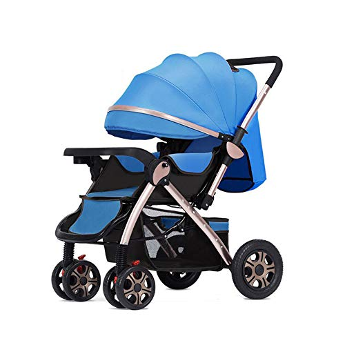 $293.99 Target Infant Car Seats Light and fold Baby Stroller High Landscape Stroller Four-Wheel Shock Double-Way Infant Stroller from Birth to 15 Kg-Blue 2019