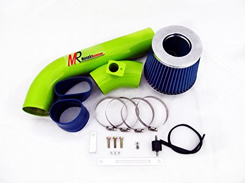 92 93 94 95 96 97 98 BMW E36 3-Series I6 GREEN Piping Cold Air Intake System Kit with Blue Filter