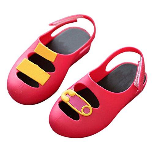 Hzjundasi Baby Jungen M?dchen S?ugling Anti-Rutsch L?ssige Weich Gelee Flache Schuhe Kleinkind Kinder Strand Sandalen Regen Stiefel Rot