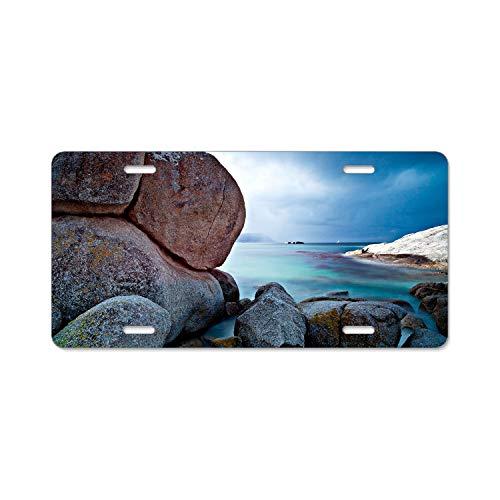 (Irma Boyle Automotive Exterior Accessories Stones boulders Sky sea Beautiful Nature License Plate Frames - Plate Car Holder Tag)