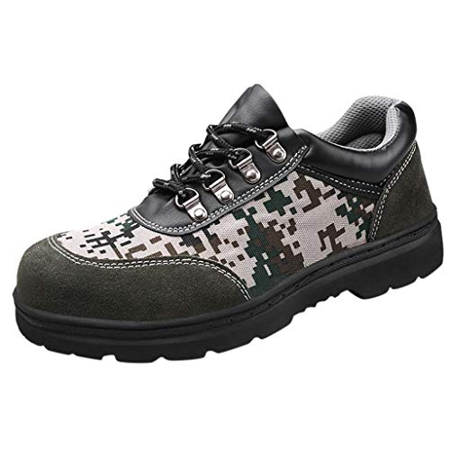 8' Leather Waterproof Safety Toe - Work Shoes Mens Labor Insurance Puncture Proof Shoes Industrial Construction Camouflage