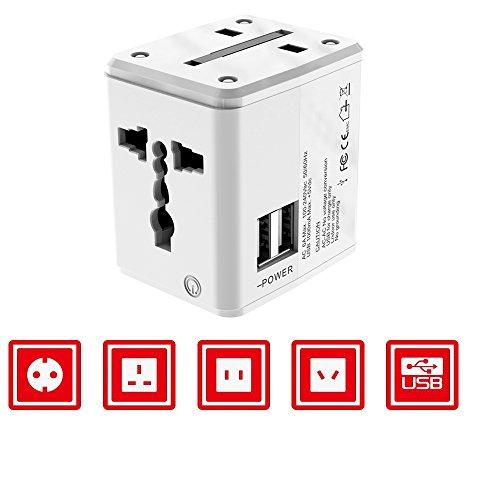 Universal Travel Plug Adapter, DOCA Dual USB Charging Ports