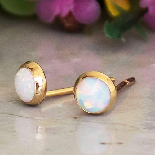 14K Gold White Opal Stud Earrings - 14K Solid Yellow Gold, 4mm October Birthstone Tiny Cute Opal Gemstone - Small Handmade Dainty Jewelry Gift for Girls and Women