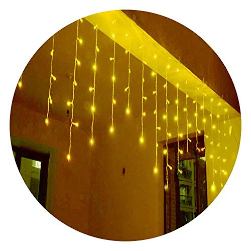 Lightspot 4M/13Ft 96 LED 8 Modes Curtain String Light Window Room Patio Parties Xmas Decorative Wave Twinkle Light (4M 96LED, Warm White)