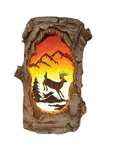 - Outlet Plugin 7w Night Light Lamp, Deer Buck Silhouette Scene Birch Log, 7