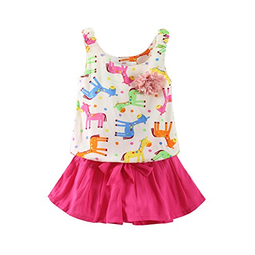 Mud Kingdom Bright Horse Flower Tank Tops and Shorts Girls' Clothes Sets 2T Rose Red