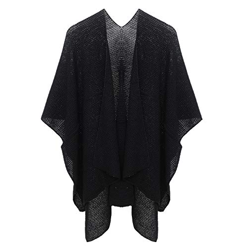 Womens Poncho Sweater Knit Blanket Shawls Wraps Cardigans Capes Black