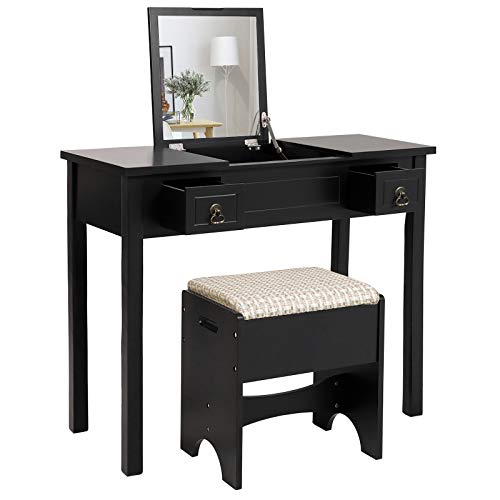 VASAGLE Vanity Set with Flip Top Mirror Makeup Dressing Table Writing Desk with 2 Drawers Cushioned Stool 3 Removable Organizers Easy Assembly, Black - Stand Vanity