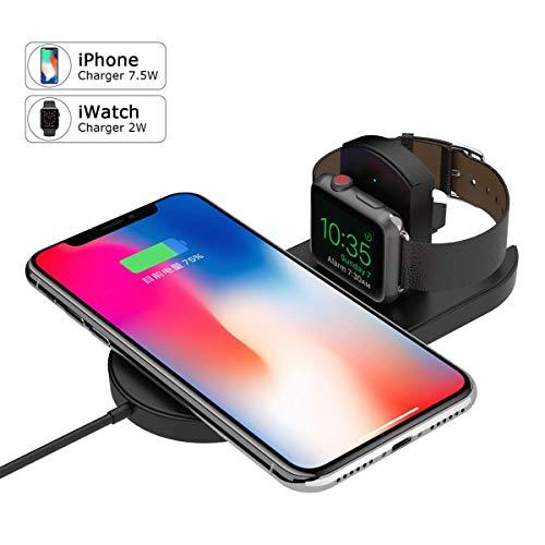 Ocamo Soporte de Carga 2 en 1, Soporte de Carga inalámbrico, Cargador iWatch para Apple Watch Serie 2/3 iPhone X 8 8Plus y...