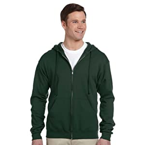 Jerzees Nublend Men's Full-Zip Hooded Sweatshirt, Forest Green, X-Large