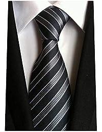 Classic Striped Blue Yellow Jacquard Woven 100% Silk Men's Tie Necktie