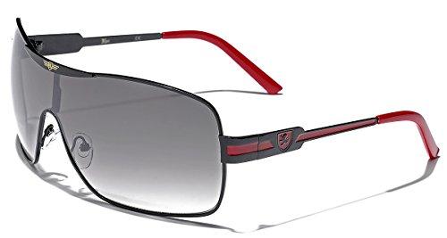 Khan Fashion Men's Square Aviator Style Sunglasses Silver Black Blue Sport (Fashion Aviator Shades Sunglasses)