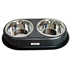 Pet Stainless Steel Dog Double Dinner Set, Metallic, 920 ml (Medium), Assorted