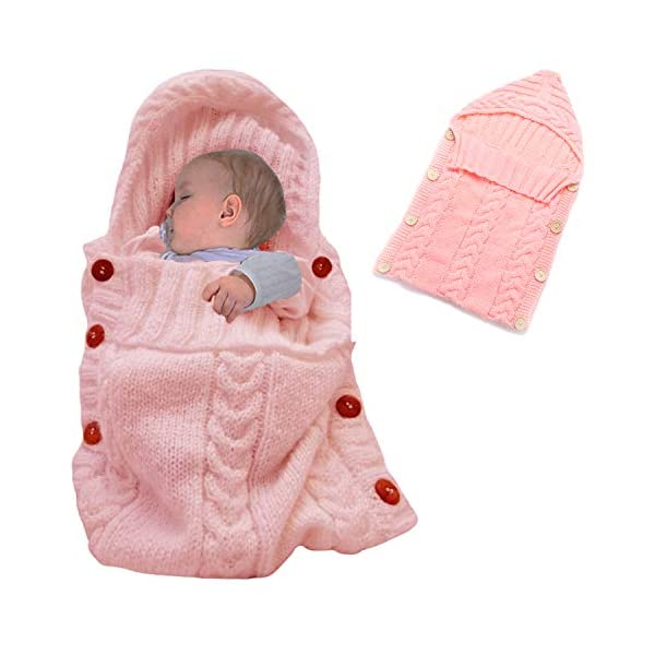 Elesa Miracle Newborn Baby Swaddle Blanket Baby Winter Knit Swaddle Blanket Baby Knit Wrap Sleeping Bag, Pink