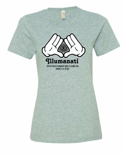 Pyramid Dollar Bill - Ladies Illuminati Cartoon Hands Dollar Bill Eye Pyramid T-Shirt-Sport Gray-XL