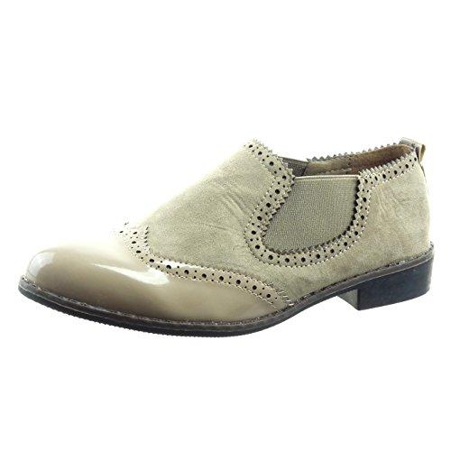 Sopily Scarpe da Moda Sneaker chelsea boots bimateriale alla caviglia donna  verniciato perforato Tacco a blocco 25 CM Khaki