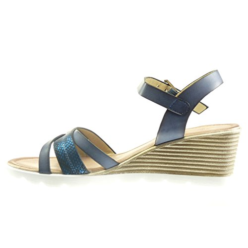 Angkorly Damen Schuhe Sandalen - Plateauschuhe - Sneaker Sohle - Schlangenhaut - Multi-Zaum Keilabsatz High Heel 6 cm Blau