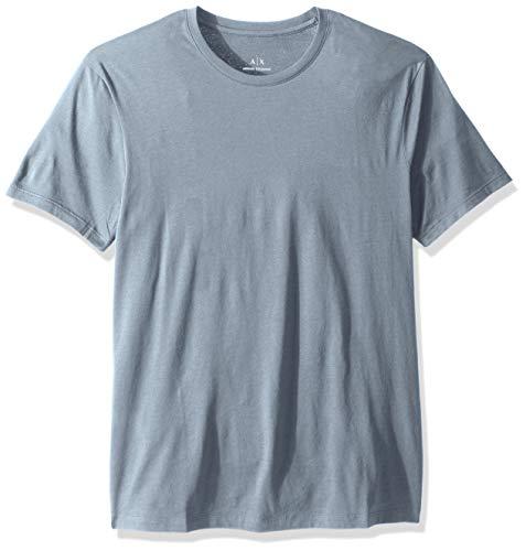 (A|X Armani Exchange Men's Pima Cotton Jersey Short Sleeve Tshirt, Faded Denim, S)