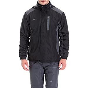 Trailside Supply Co. Men's Weatherproof Fleece-Lined Hooded Ski Jacket(Black+Grey-2XL)