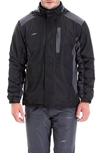 Training Winter Jacket (Trailside Supply Co. Men's Weatherproof Fleece-Lined Hooded Ski Jacket(Black+Grey-L))